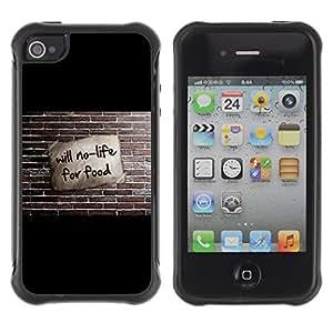 KEIZZ Cases / Apple Iphone 4 / 4S / Will No Life For Food - Funny / Robusto Prueba de choques Caso Billetera cubierta Shell Armor Funda Case Cover Slim Armor