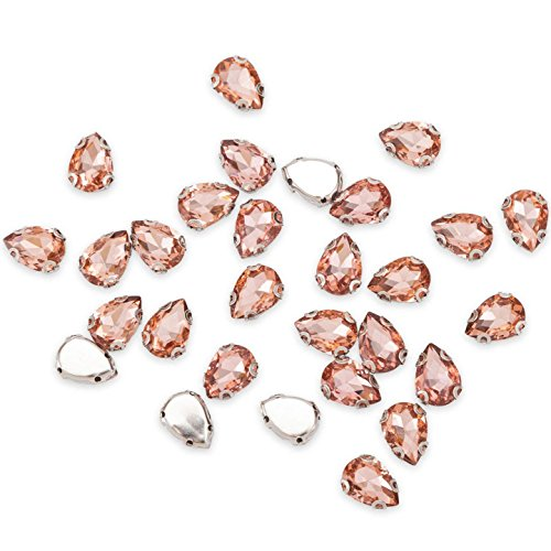 (100Pcs Crystal Rhinestones Sewing on, Teardrop Rhinestones Flatback Beads Buttons, DIY Crafts Gems Embellishments for Clothing, Bags, Shoes, Dress, Wedding Party Decoration (12mm Rose Gold))
