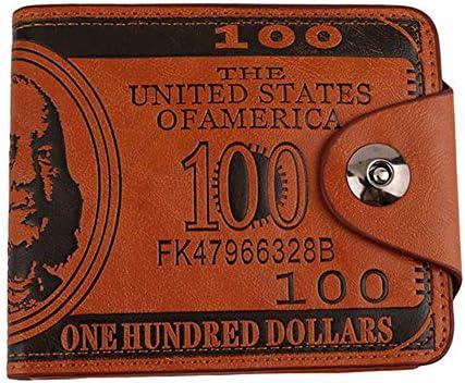 CDKJ 3D PU Billetera de Cuero Cartera El dólar es Monedero Pintado a Mano de la Cartera Personal para la Mujer del Hombre de Brown