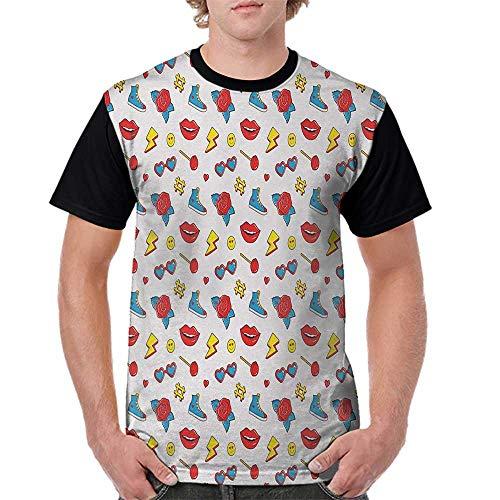 Raglan Baseball Tee Short Sleeve,Emoji,Hipster Pop Art Theme 90s Fashion Comic Book Figures Lollipop Shoes Lips Roses,Yellow Red Blue S-XXL Men Fashion Shirts -