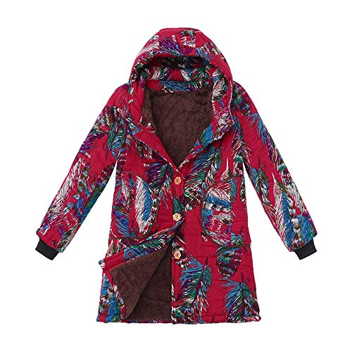 TnaIolr Women Warm Hoodie Coat Casual Winter Warm Outwear Floral Print Hooded Pockets Vintage Oversize Coats