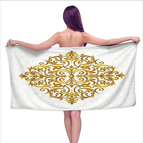 (Glifporia Sauna Towel Mandala,Victorian Style Traditional Filigree Inspired Royal Oriental Classic Print,Pale Caramel White,W12 xL35 for bathrooms, Beaches, Parties)