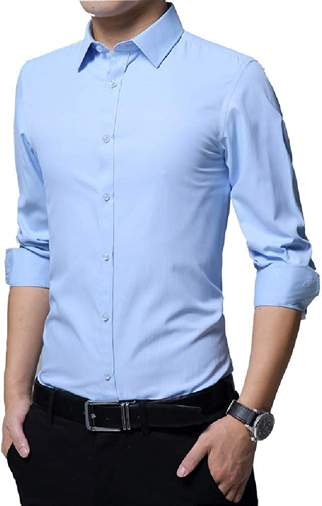 Abetteric Men Big /& Tall Single Breasted Basic Style No-Iron Dress Shirts