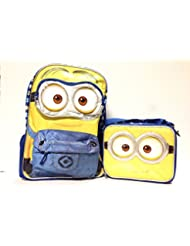 Despicable Me Minions 3d Eyes 16 Inches Backpack with Lunch Bag