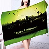 Personalized bath towel Haunted farmhouse in the woods Halloween greeting card Moisture Wicking L63 x W31.2 INCH