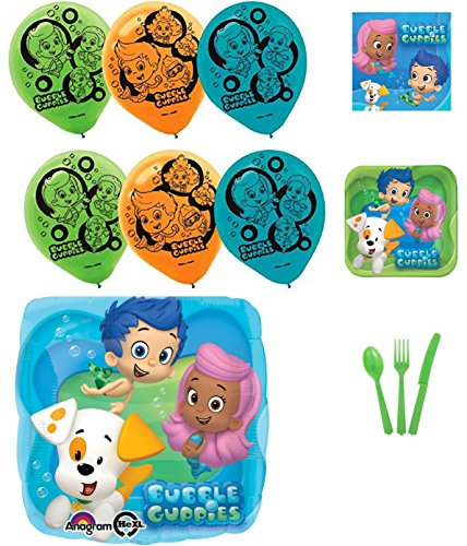 Bubble Guppies Party Supplies and Balloons Bundle (Bubble Guppies Character Names)