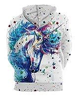 GLUDEAR Unisex Realistic 3D Digital Print Pullover Hoodie Hooded Sweatshirt,Unicorn Print,S/M