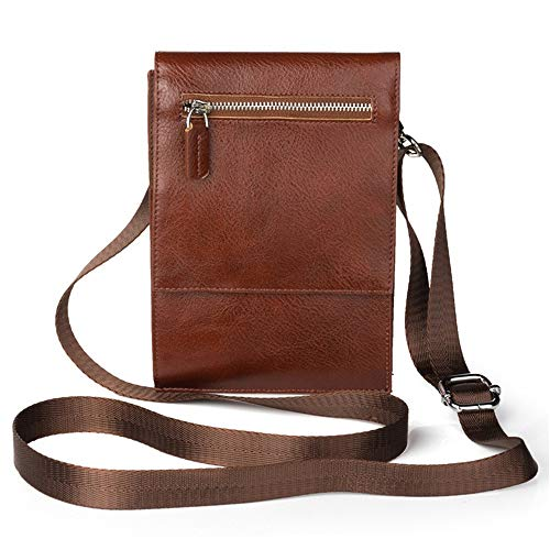 KIMIBen-LP Punk Waist Bag Men's Genuine Leather Cell Phone Holder Bag Waist Fanny Pack Small Messenger Bag 6.3inch for iPhone 8plus Samsung Not9 Women Waist Pouch (Size : Brown)