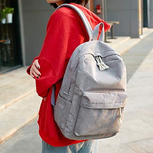 Femme Simple À Teen VHVCX Gray École Mochila Mode Corduroy À Cartable Sac Dark Dos Sac Dos Pour À Femme Sac Bag Dos Enfants Girl Zw7Zf