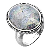Paz Creations ♥925 Sterling Silver Bold Oval Roman Glass Ring (6), Made in Israel