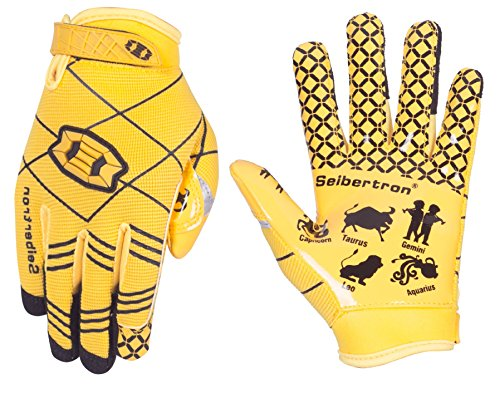 Seibertron Pro 3.0 Twelve Constellations Elite Ultra-Stick Sports Receiver Glove Football Gloves Youth (Yellow, L)
