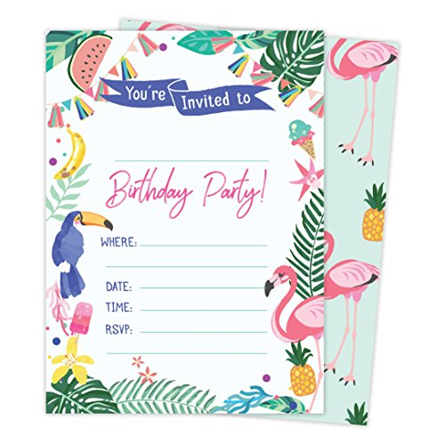 Hawaiian HI Maui Tropical Happy Birthday Invitations Invite Cards (25 Count) with Envelopes and Seal Stickers Vinyl Boys Girls Kids Party -