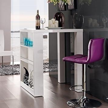 lounge-zone Designer Bartisch HOME weiß Highgloss mit seitlichem ...