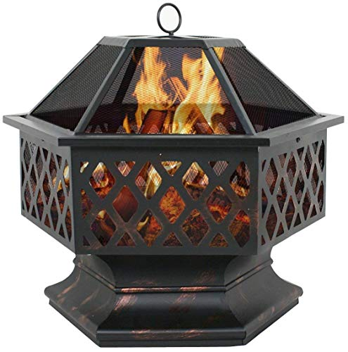 United Family Shop Outdoor Fire Pit - Wood Burning - Patio Fireplace - Hex Shaped Fire Pit - Fire Steel Bowl with Spark Screen - for Home Garden Backyard - 24