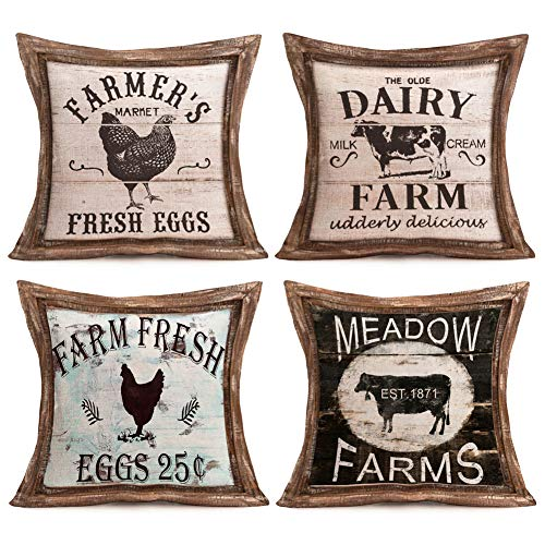 Farm Throw - Aremetop Farmhouse Decorative Throw Pillow Covers Rustic Poultry Animal Quote with Retro Wood Cushion Decor Pillowcase Farm Fresh Rooster Eggs Dairy Cow Cotton Linen Cushion Cover Set of 4,18''x18''