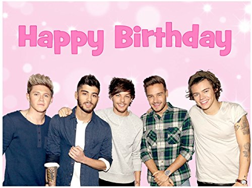 One Direction Happy Birthday A4 Cake Topper edible sugar icing