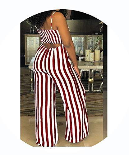 Women Jumpsuit Lady Strap Stripe Romper Jumpsuit Bodysuit Bodycon Party Streetwear Outfit -