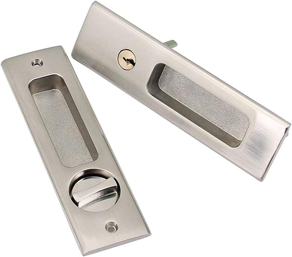 CCJH Cerradura de la puerta Cerradura de acero inoxidable para puerta de granero corrediza Pestillo de puerta de madera (cerraduras de puerta de granero corrediza invisible, plata): Amazon.es: Hogar