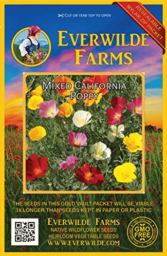Everwilde Farms - 1000 Mixed California Poppy Wildflower Seeds - Gold Vault Jumbo Seed Packet California Poppy Seed Paper