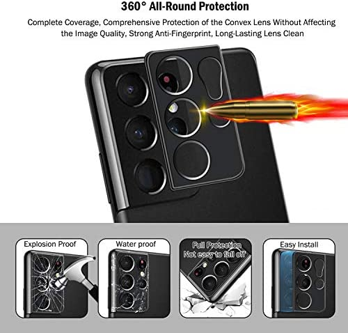 """QHOHQ 2 PACK SCREEN PROTECTOR (NOT TEMPERED GLASS) FOR SAMSUNG GALAXY S21 ULTRA 5G 6.8"""" WITH 2 PACKS CAMERA LENS PROTECTOR,FLEXIBLE TPU HYDROGEL FILM,HD - ANTI-SCRATCH,COMPATIBLE FINGERPRINT UNLOCK"""