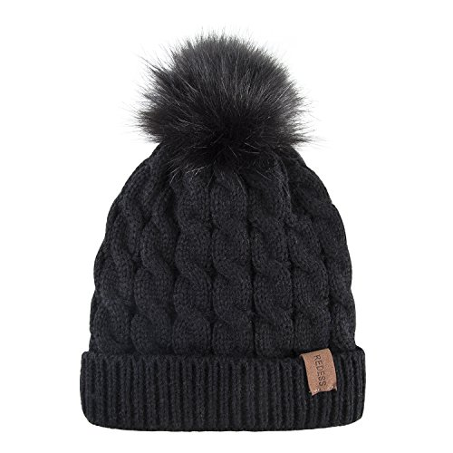 Kids Winter Warm Fleece Lined Hat, Baby Toddler Children's Beanie Pom Pom Knit Cap for Girls and Boys by REDESS (Black) by REDESS (Image #5)
