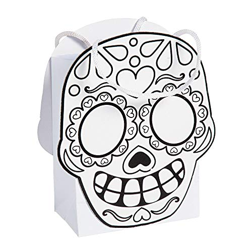 Fun Express - Cyo Day of The Dead Treat Bag for Halloween - Craft Kits - CYO - Paper - Bags - Halloween - 12 Pieces
