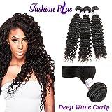 "Fashion A Plus (TM)Brazilian Deep Wave Curly Remy Hair 3 bundles Human Hair Extensions Weave Weft Natural Color 7A Grade 100g/piece (16"" 18"" 20"")"
