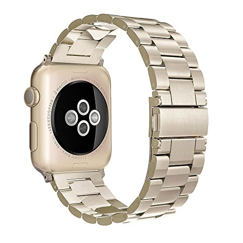 - Simpeak Stainless Steel Band Strap Compatible iWatch 42mm 44mm Series 1 Series 2 Series 3 Apple Watch 4 - Champagne Gold for Women Men