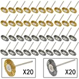 PHYHOO 3mm Steel Brass Cleaning Cup Brushes Wire Brush Polishing Wheels Attachment for Dremel Die Grinder Rotary Tools 40 Pcs