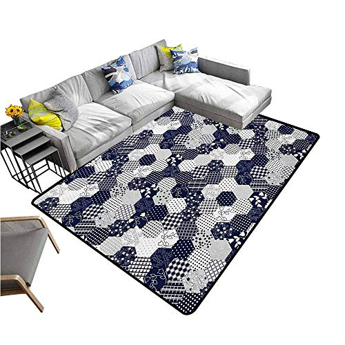 Kitchen Doormat Navy Blue,Octagon Patchwork Style Pattern Image with Dots Stars Squares and Stripes,Navy and White 64