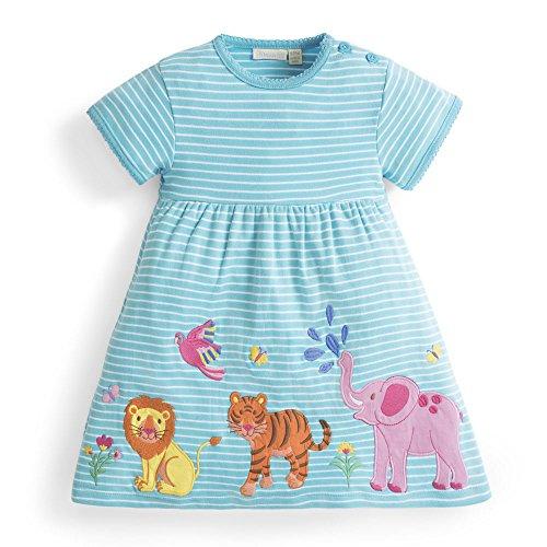 Jungle Applique (JoJo Maman Bébé Girls' Jungle Animal Applique Cotton Dress, Short Sleeve)