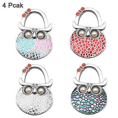 Handbag Hanger,FOME Set of 4 Foldable Purse Hook Purse Table Hook Holder Owl Shape Bag Hanger Hook 4.72x1.77in Mixed Color
