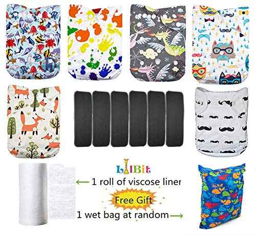 Lilbit 6 Pcs Bamboo Charcoal Inserts and 6 Pcs Baby Cloth Diapers
