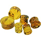 Pair of Chiapas Amber Double Flared Plugs: 1''