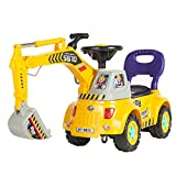 Best Choice Products Kids Excavator Ride-On Truck with Garden Set, Music, Lights, Storage, Yellow