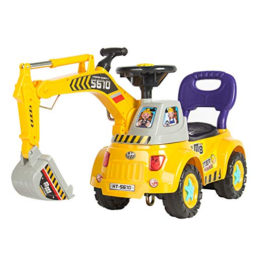 (Best Choice Products Kids Pretend Play Excavator Construction Digger Scooter Pulling Cart Ride-On Toy Truck w/ Music Player, Mini Gardener Set, Lights, Storage - Yellow)