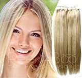 PROFESSIONAL Ash Blonde Tape In Hair Extensions, 20″ Length, 50grams, Silky Straight,Highlights/Lowlights Included in each weft Review