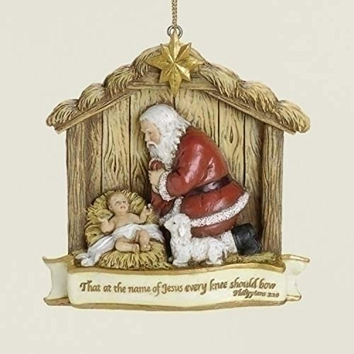 Roman Kneeling Santa Claus with Baby Jesus Religious Christmas Ornament