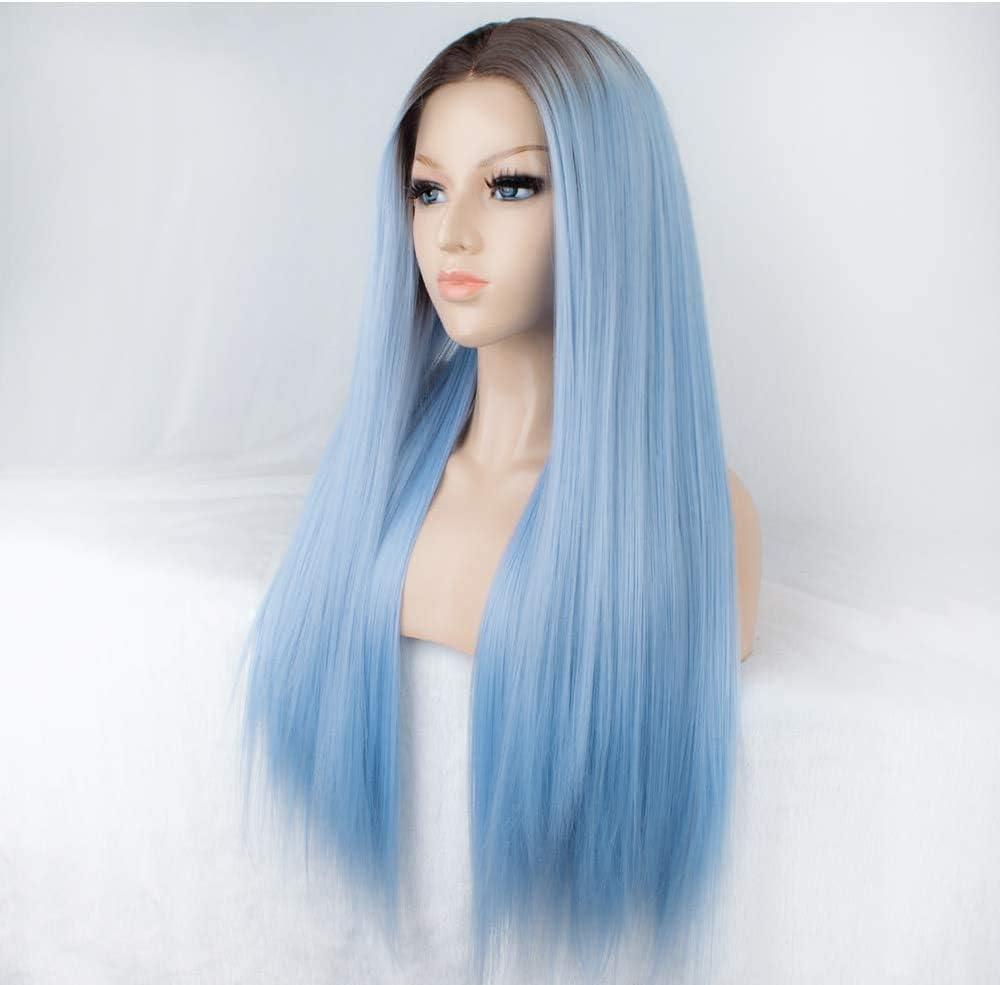 Peluca azul YUJY para mujer Peluca delantera de encaje sintético con raíces marrones Peluca larga azul claro recta Parte derecha Cabello falso