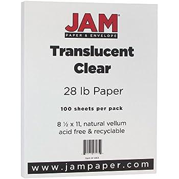"JAM Paper Translucent Vellum Paper - 8.5"" x 11"" - 28lb Clear - 100 Sheets/pack"