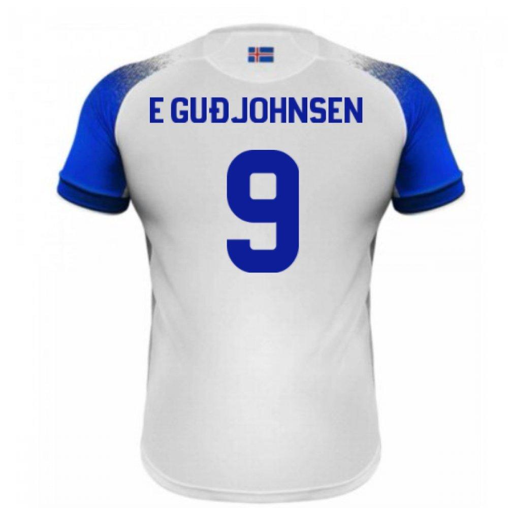 2018-2019 Iceland Away Errea Football Soccer T-Shirt Trikot (Eidur Gudjohnsen 9)
