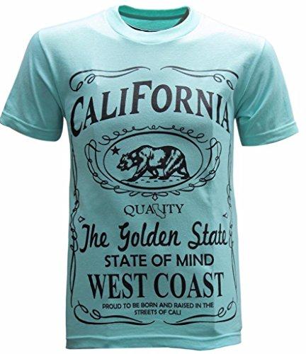 California Republic West Coast Men's T-Shirt - (Large) - Aqua