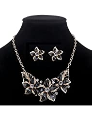 Gold Plated Austrian Crystal Enamel Flower Jewelry Sets Women African Costume Sapphire Jewelry Maxi Necklace Earring Set^F713