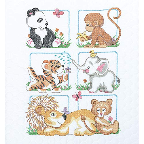 Dimensions Stamped Cross Stitch Baby Animals DIY Baby Quilt Kit, 34'' x 43'' Bear Cross Stitch Pattern