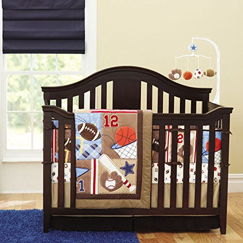 (New 7pcs Baby Boy Brown Sport Crib Bedding Set )