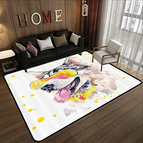 Area Rugs,Animal,Funny Husky Dog with Sunglasses Humorous Cute Watercolor Cool Puppy Picture,Yellow Grey Beige 78.7