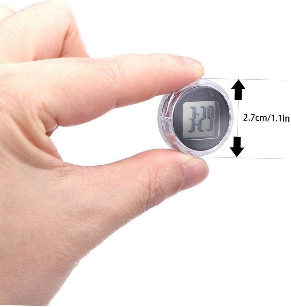 NNuodekeU Universal Mini Motorrad Digital Uhr Wasserdicht Stick On Motorrad Digital Uhr Durchmesser 2,8 cm - 2 Pack