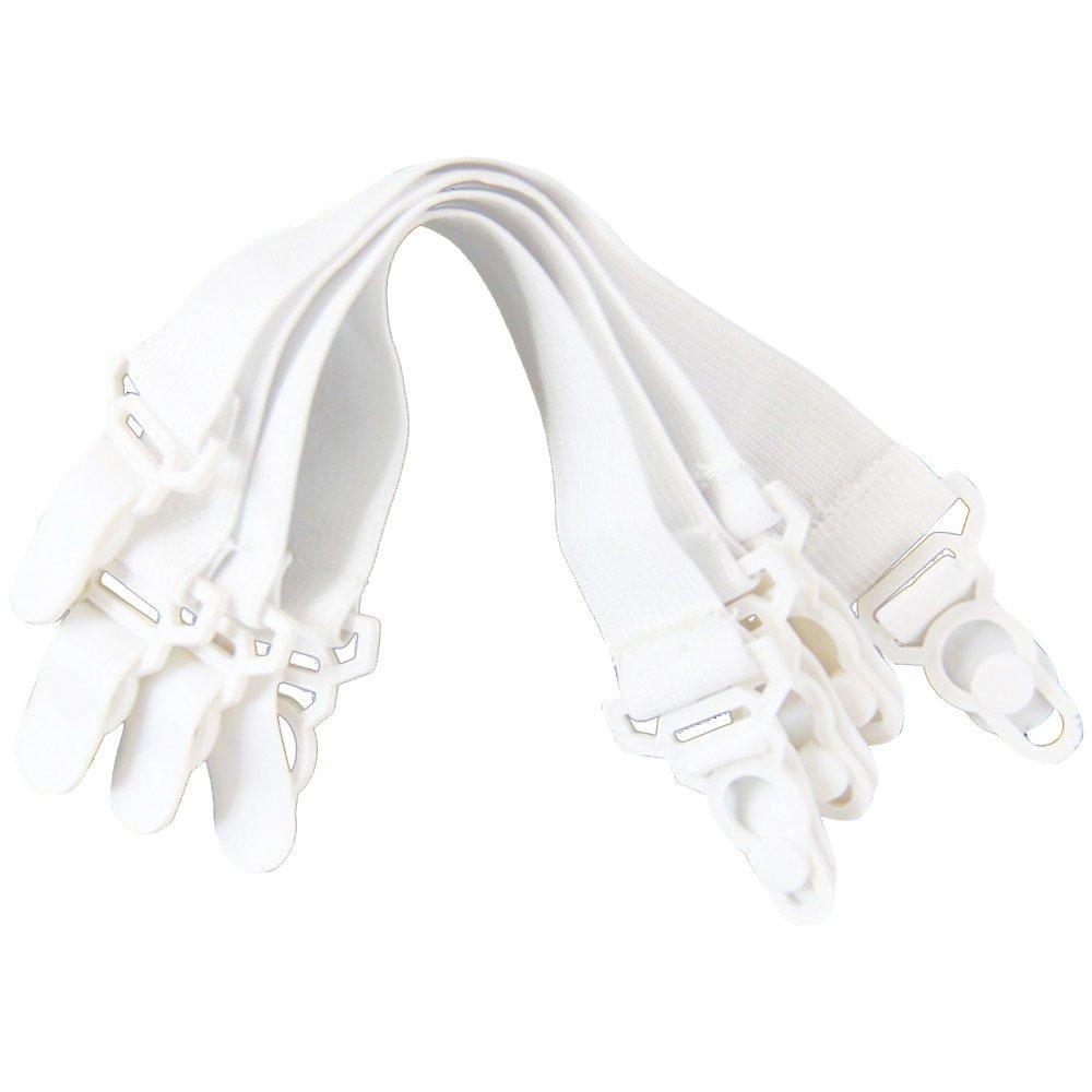 SODIAL Lot de 4 couvre-lit elastique couvre-tendeurs passoire blanc AEQW-WER-AW129740
