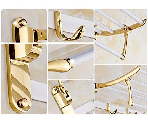 GL&G European luxury white copper Bathroom Bath Towel Rack fold Wall Mount Double Towel Bar Bathroom Storage Organizer Shelf Bathroom Accessories Bathroom Shelves by GAOLIGUO (Image #3)
