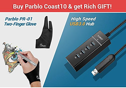 Parblo Coast10 10.1'' Digital Pen Tablet Display Drawing Monitor 10.1 Inch with Cordless and Battery-free Pen+ 4ports USB3.0 Hub+ Glove by Parblo (Image #1)